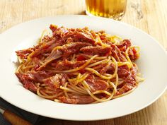 Neely's Pulled Pork Barbecue Spaghetti. I used the hub's smoked pork butt and use a green bell pepper. It's WONDERFUL!