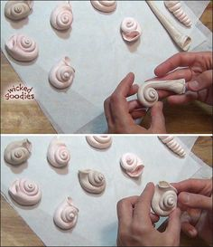 Tutorial with info and instructions on how to mold modeling chocolate snail shells for a beach or seashell themed cake decorating project