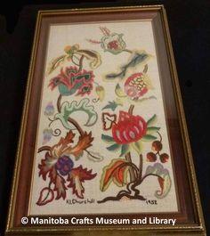 Artist: Kitty Churchill Embroidered Jacobean panel, framed.   Surface Crewel 1952 Craft Museum, Jacobean, Churchill, Needlework, Surface, Kitty, Embroidery, Quilts, Frame
