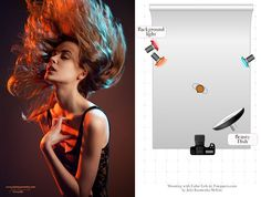 5. Two strobes with color gels, one on each side, vivid and rich colors.
