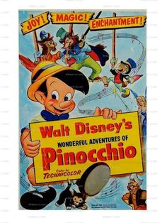 1954 Pinocchio theater poster when the 1940 film was re-released that year - first time older Boomer kids got to see it. It came out again in 1962 and again in 1971 for mid and younger Boomers - when did you first see Pinocchio? Disney Pixar, Disney Films, Disney Animation, Classic Disney Movies, Disney Movie Posters, Disney Animated Movies, Classic Movie Posters, Cartoon Posters, Classic Cartoons