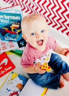 One year old birthday photos--Dr. Seuss