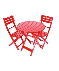 Look at this #zulilyfind! Red Folding Bistro Set #zulilyfinds
