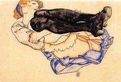 Egon Schiele, Woman with Blue Stockings, 1912