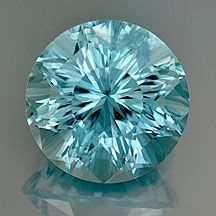 "Fabulous medium blue Aquamarine round with outstanding ""GlowUC"" Concave Cut . 3.85 cts . 10.2 mm . VVS . Africa . No enhancements . $1150"