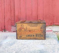 Vintage Braumeister Lager Beer Wooden Beer Crate Milwaukee, Wis.,Manufactured by Independent Milwaukee & Brewery,1940s by Incredibletreasures on Etsy