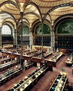 J'en ai passé des jours dans cette magnifique salle... Bibliothèque Nationale de France in Paris. This room, the Labrouste Reading Room,  was designed by Henri Labrouste in 1854.  The Oval Reading Room was added in 1875 by Jean-Louis Pascal. The library currently holds 30 million items and was expanded to a newer building in 1996.