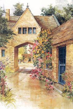 Fleurs de jardin.  Aquarelle Mary Deloyht-Arendt