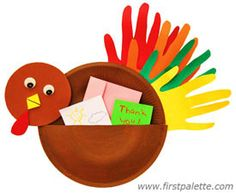 """Make a paper plate turkey with a pouch where you can put all your """"thank you"""" notes for your family members or classmates on Thanksgiving."""