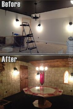 Interior wall panels made a world of difference in Brent's game room. - Interior wall panels made a world of difference in Brent's game room. Nerd Room, Gamer Room, Magic Room, Taverna Medieval, Dungeon Room, Faux Panels, Game Room Design, Tabletop Games, Spare Room
