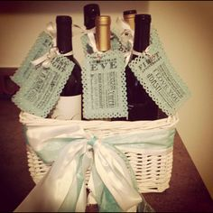 Bridal shower gift. 6 bottles to open up on the couples wedding night, first x-mas, first fight, first baby, first dinner party, and first anniversary. :)