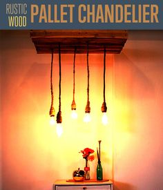 Pallet Chandelier Lighting | Cool Reclaimed Wood Project | Step-by-step tutorial for DIY rustic home decor. #DIYready www.diyready.com