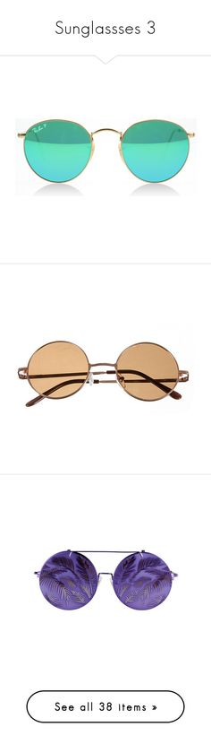 """""""Sunglassses 3"""" by musicmelody1 on Polyvore featuring accessories, eyewear, sunglasses, glasses, oculos, sunnies, rounded sunglasses, round sunglasses, round metal sunglasses and round metal glasses"""