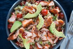 Quinoa! Salmon!! Avocado!!! We're so excited about this trio that we can hardly contain ourselves. If we were more musically inclined, we might write a symphony for how deliciously & harmoniously these three ingredients work together in this gluten-free recipe.