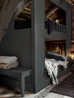 Attic bunk room with exposed ceiling over charcoal gray built-in bunks layered with gray and white bed linens with a built-in bench at the foot of the bunks over unfinished hardwood floor layered with a black rag rug. Home Bedroom, Bedroom Decor, Master Bedroom, Bedroom Ideas, Girls Bedroom, Bedroom Furniture, Furniture Sets, Interior Architecture, Interior Design