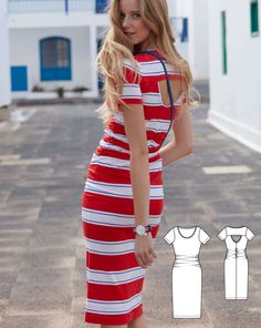 Gathers at the side seams and in back give more than just a curvy figure – it gets an additional visual boost from the horizontal stripes set in place for a fresh spin on this classic holiday dress. The neckline and cutout are finished with bias strips – like a T-shirt. You'll reach for this often whether for sightseeing, sailing or simply relaxing.