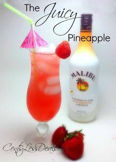 The Juicy Pineapple Drink cup grapefruit juice 1 cup cranberry juice 1 cup pineapple Malibu Rum) Party Drinks, Cocktail Drinks, Fun Drinks, Pineapple Cocktail, Pineapple Drinks, Malibu Pineapple, Pineapple Lemonade, Refreshing Drinks, Summer Drinks