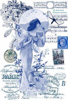 MI MALETA DE RECORTES: Variété de Láminas en Tonos de Azul-Blue-Bleu