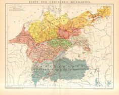 1895 Original Antique Map of German Dialects