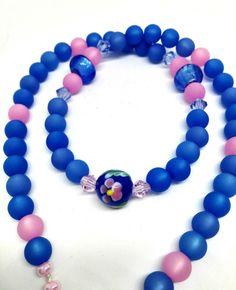 Ketten kurz - Blaue Polariskette mit rosa Muranoglas - ein Designerstück von Oase-der-Perlen bei DaWanda
