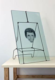 robert therrien, no title (joyce frame), 2011: glass, metal, printed image on acetate