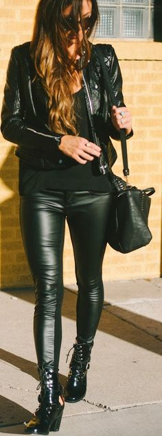 LEATHER  |  Black Leather Skinnies