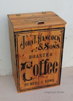 By Stephen Jorgensen @ Authentic Counterfeits Wooden Crate Boxes, Vintage Wooden Crates, Antique Wooden Boxes, Wood Crates, Wood Boxes, Coffee Advertising, Vintage Advertising Signs, Coffee Box, Metal Baskets