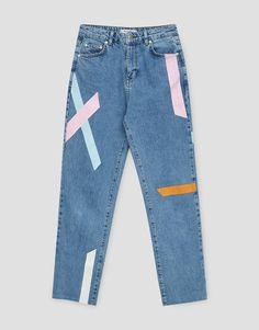 Jeans mom fit tiras colores - #pullandbearcommunity - Trends - Mujer - PULL&BEAR España