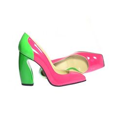 Pink and green patent leather pumps by HandmadeLeatherShoes, €129.00