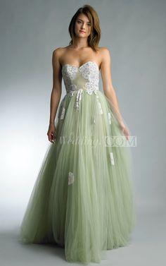 A-line Floor-length Sweetheart Sleeveless Tulle Backless Dress