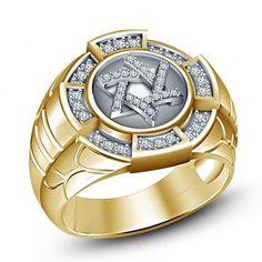 Jewish Star  Men's Band Ring Two Tone Plated 925 Silver Round Simulated Diamond #beijojewels #MensBandRing #EngagementWeddingAnniversaryPartyWear