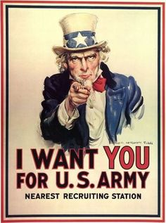 """""""I want You for U. army """" is one of the famous propaganda poster. Uncle Sam who is the man on the poster, is a well-known symbol to this day. This poster means that the United States was counting on each and every one of them. I Want You Poster, Oncle Sam, Posters Vintage, Propaganda Art, Fallout 3, Rosie The Riveter, Texas Rangers, Library Of Congress, Us Army"""