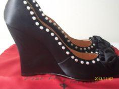 POUR LA VICTOIRE Prya New designer women's black wedge SHOES size 8