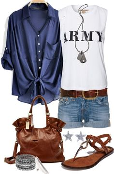 """""""Casual Army Shorts"""" by angela-windsor on Polyvore"""