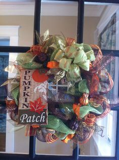 Fall Pumpkin Deco Mesh Wreath. via Etsy.
