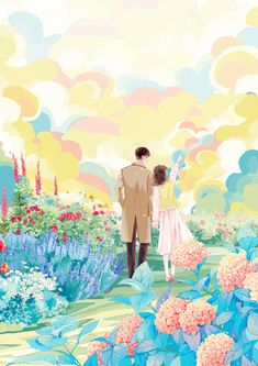 Romantic Anime Couples, Cute Anime Couples, Anime Backgrounds Wallpapers, Cute Cartoon Wallpapers, Cute Couple Drawings, Blue Aesthetic Pastel, Cute Patterns Wallpaper, Korean Art, Cartoon Art Styles