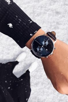 "Chrono Silver ""Blue Dark Brown Croco Leather"" Chrono Silver Blue Dark Brown Croco Leather by Kapten & Son Trendy Watches, Luxury Watches For Men, Kapten & Son, Silver Pocket Watch, Fashion Watches, Dark Brown, Dark Blue, Gold Watch, Women's Accessories"