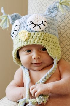 Sleepy Owl Hat, baby blue and green, size 0-3 months. $25.00, via Etsy.