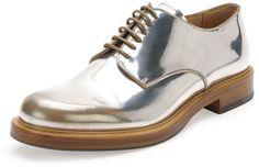 Alexander McQueen Farraday Metallic Lace Up, Silver/Taupe