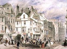 High Street, Edinburgh, showing John Knox's House, 19th century Wall Art & Canvas Prints by Thomas Hosmer Shepherd