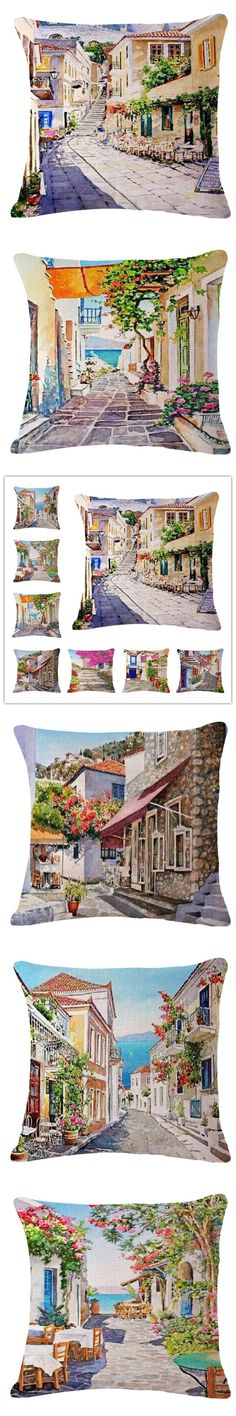 The scenery Style  45*45cm Square Home Decorative Pillow Music Note Printed Throw Pillows Car Home Decor Cushion Cojines