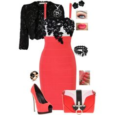 Black Lace and Coral by whitney-salyer on Polyvore