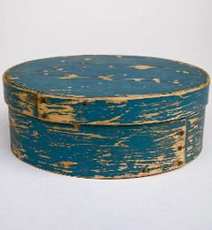Original Blue Paint Oval Pantry Box »1880