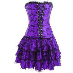 Purple Black Gothic Corset Outfit | Burlesque Outfits | Burlesque Costumes