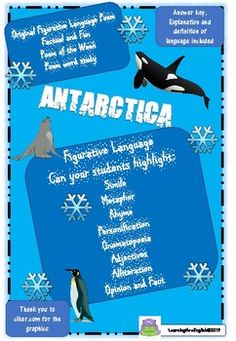 ORIGINAL ORIGINAL ORIGINAL ANTARCTICA Figurative Language Poem including answer and language feature explanation guide. This poem gets students thinking about this amazing part of our world how we should look after it! While enjoying a poem about Antarctica your students can learn a variety of Langu... Figurative Language, Antarctica, Global Warming, Conservation, Penguins, Poems, Students, The Originals, Learning