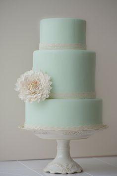 """Mint cake, lace trim, """"antiqued"""" sugar dahlia, Erica O'Brian"""
