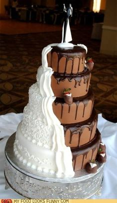 Bridal cake and groom cake in one                                                                                                                                                                                 More