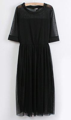 Mesh round neck Sleeve Dress Black. i love dress, and the color back of course, and i'm becoming a huge fan of midi dress. i think is nice and the style is beautiful ;)