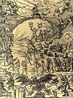 A German woodcut of a massive Witches' Sabbath, complete with the Osculum Infami (performed on women, devils, and a goat) and Old Scratch having violent diarrhea into a cauldron (bottom center).
