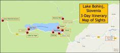 Lake Bohinj, Slovenia 3-Day Itinerary Map of Sights Pins JetSettingFools.com